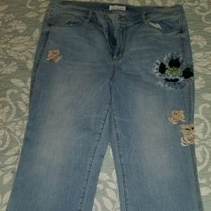 Women's embroidered jeans (worn once)